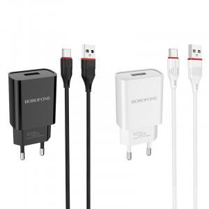 Сетевая зарядка Borofone BA20A (1USB / 2.1A) + кабель Type-C 1м для LG G7+ / LG G7 ThinQ