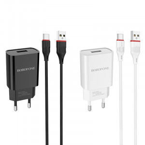 Сетевая зарядка Borofone BA20A (1USB / 2.1A) + кабель Type-C 1м для iPad Air
