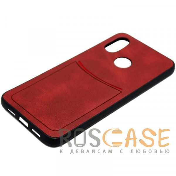 Фотография Красный ILEVEL | Чехол с кожаным покрытием и с карманом-визитницей для Xiaomi Mi 8