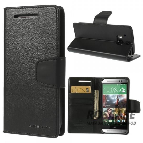 Чехол (книжка) Mercury Sonata Diary series для HTC New One 2 / M8 (Черный / Черный)Описание:производство  -  Mercury;совместимость  -  телефоны HTC New One 2 / M8;тип чехла  -  книжка;материалы  -  искусственная кожа, термополиуретан.Особенности:подставка для просмотра кино;отделение для денег и пластиковых карт;проемы для всех кнопок и портов телефона.<br><br>Тип: Чехол<br>Бренд: Mercury<br>Материал: Искусственная кожа