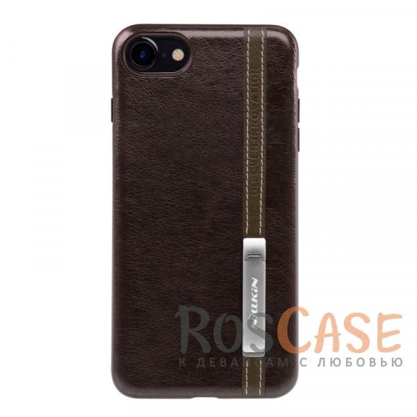 Классическая кожаная накладка с металлической подставкой для Apple iPhone 7 / 8 (4.7) (Темно-коричневый)Описание:бренд Nillkin;разработан для Apple iPhone 7 / 8 (4.7);материалы: искусственная кожа, TPU;формат: накладка;функция подставки;защита от ударов и царапин;не скользит в руках;металлическая пластина внутри.<br><br>Тип: Чехол<br>Бренд: Nillkin<br>Материал: Искусственная кожа