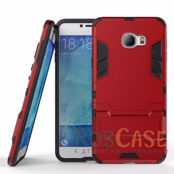 Ударопрочный чехол-подставка Transformer для Samsung Galaxy C7 с мощной защитой корпуса (Красный / Dante Red)Описание:подходит для Samsung Galaxy C7;материалы: термополиуретан, поликарбонат;формат: накладка.&amp;nbsp;Особенности:функциональные вырезы;функция подставки;двойная степень защиты;защита от механических повреждений;не скользит в руках.<br><br>Тип: Чехол<br>Бренд: Epik<br>Материал: TPU