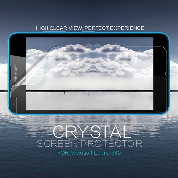 Защитная пленка Nillkin Crystal для Microsoft Lumia 640Описание:бренд:&amp;nbsp;Nillkin;совместима с Microsoft Lumia 640;материал: полимер;тип: защитная пленка.&amp;nbsp;Особенности:в наличии все необходимые функциональные вырезы;не влияет на чувствительность сенсора;глянцевая поверхность;свойство анти-отпечатки;не желтеет;легко очищается.<br><br>Тип: Защитная пленка<br>Бренд: Nillkin