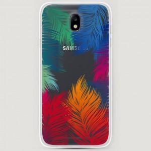 RosCase | Силиконовый чехол Рамка из перьев на Samsung J730 Galaxy J7 (2017)