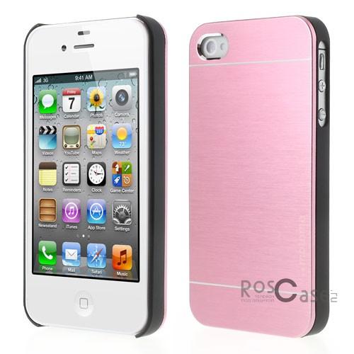 Накладка MOTOMO с алюминиевой вставкой для Apple iPhone 4/4S (Розовый)Описание:компания-производитель: MOTOMO;совместим с Apple iPhone 4/4S;используемые материалы: поликарбонат, алюминий;форма: накладка.&amp;nbsp;Особенности:ультратонкое исполнение;полный набор функциональных вырезов;высокий уровень защиты;алюминиевая декоративная вставка;плотное прилегание;надежная фиксация.<br><br>Тип: Чехол<br>Бренд: Epik<br>Материал: Металл