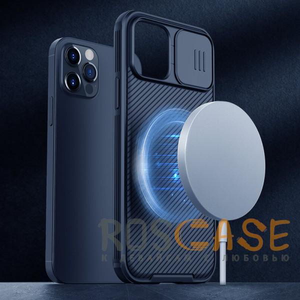 Фотография Черный Nillkin CamShield Pro   Чехол из пластика и TPU с защитой камеры для магнитной зарядки для iPhone 12 / 12 Pro
