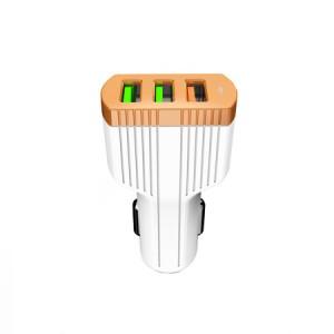 LDNIO C702Q | Автомобильное зарядное устройство с тремя USB-разъемами и функцией быстрой зарядки QC3.0 (+ кабель Lightning в комплекте) для Samsung Galaxy J7 Prime 2016 (G610F)