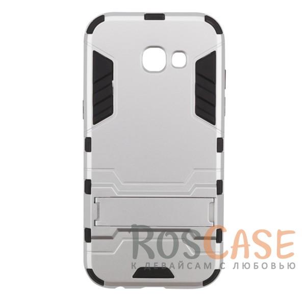 Ударопрочный чехол-подставка Transformer для Samsung A320 Galaxy A3 (2017) с мощной защитой корпуса (Серебряный / Satin Silver)Описание:ударопрочный аксессуар с функцией подставки;чехол разработан для&amp;nbsp;Samsung A320 Galaxy A3 (2017);материалы - термополиуретан, поликарбонат;тип - накладка.<br><br>Тип: Чехол<br>Бренд: Epik<br>Материал: TPU