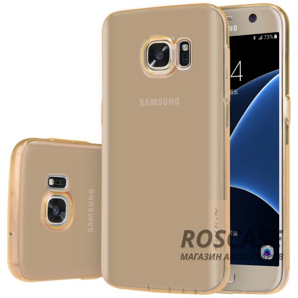 TPU чехол Nillkin Nature Series для Samsung G930F Galaxy S7 (Золотой (прозрачный))Описание:производитель  -  бренд&amp;nbsp;Nillkin;совместим с Samsung G930F Galaxy S7;материал  -  термополиуретан;тип  -  накладка.&amp;nbsp;Особенности:в наличии все вырезы;не скользит в руках;тонкий дизайн;защита от ударов и царапин;прозрачный.<br><br>Тип: Чехол<br>Бренд: Nillkin<br>Материал: TPU