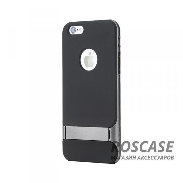 TPU+PC чехол Rock Royce Series с функцией подставки для Apple iPhone 6/6s (4.7) (Серый / Grey)Описание:изготовитель: компания Rock;совместимость: смартфоны Apple iPhone 6/6s;произведен из термопластичного полиуретана и качественного поликарбоната;тип крепления: накладка;поверхность: частично матовая, частично глянцевая.Особенности:защищает от повреждений при падениях;имеет двойную конструкцию;имеет функцию подставки;позиционируется как аксессуар с интересным нетривиальным дизайном.<br><br>Тип: Чехол<br>Бренд: ROCK<br>Материал: TPU