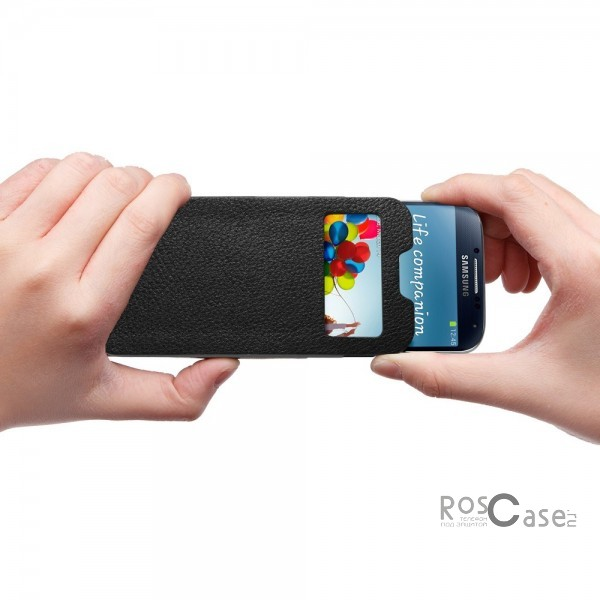 Кожаный футляр SGP Crumena View Series для Samsung Galaxy S4 i9500 - футляр в действии