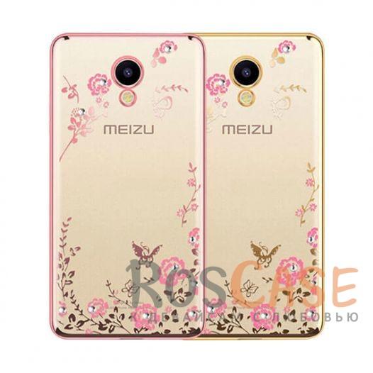 Фото Прозрачный чехол со стразами для Meizu M5 с глянцевым бампером