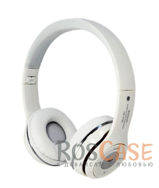 Фото Белый TM-012S | Беспроводные наушники Bluetooth с микрофоном и разъемом для карты памяти