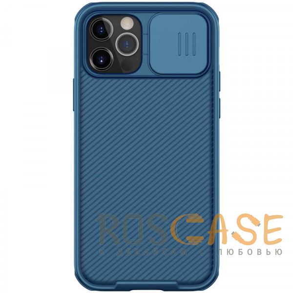 Фото Синий Nillkin CamShield Pro   Чехол из пластика и TPU с защитой камеры для магнитной зарядки для iPhone 12 Pro Max
