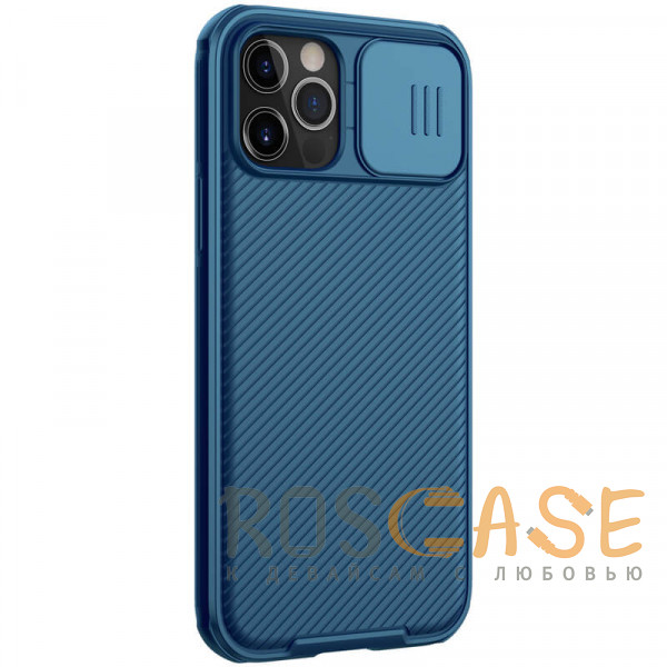 Фотография Синий Nillkin CamShield Pro   Чехол из пластика и TPU с защитой камеры для магнитной зарядки для iPhone 12 Pro Max