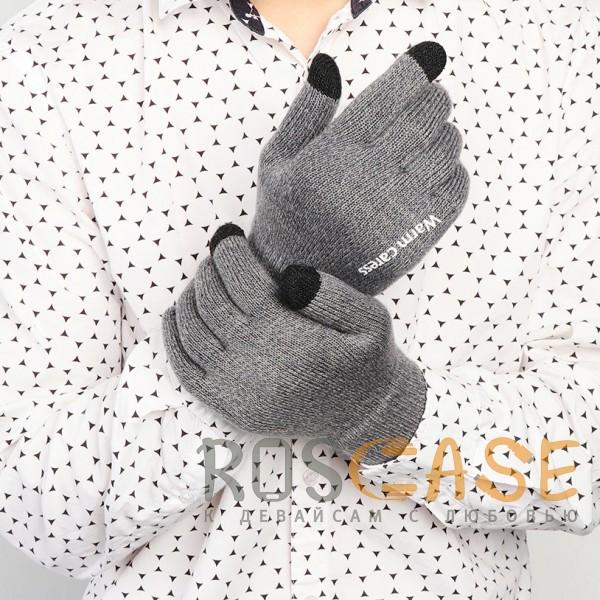 Изображение Темно-серый Warm caress | Емкостные перчатки утепленные (нескользящие)