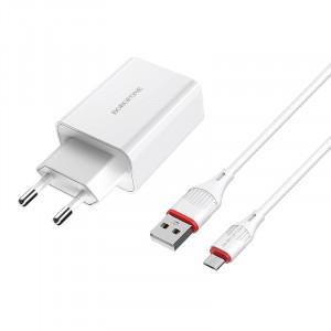 Сетевая быстрая зарядка Borofone BA21A (1USB / 3A) + кабель MicroUSB 1м для Meizu MX6