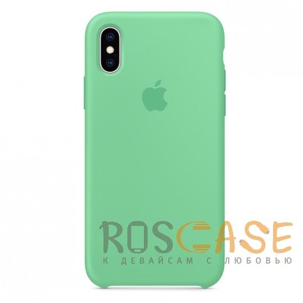 Фотография Светло-зеленый «Нежная мята» Чехол Silicone Case для iPhone X