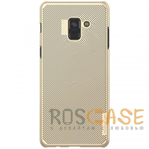 Nillkin Air | Перфорированный чехол для Samsung A530 Galaxy A8 (2018) с функцией защиты от перегрева (Золотой)Описание:совместимость -&amp;nbsp;Samsung A530 Galaxy A8 (2018);тип - накладка;материал - пластик;защита задней панели и боковых граней;покрытие анти-отпечатки;защита камеры;приятен на ощупь;ультратонкий дизайн;все необходимые вырезы.<br><br>Тип: Чехол<br>Бренд: Nillkin<br>Материал: Пластик