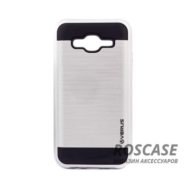 Двухслойный ударопрочный чехол с защитными бортами экрана Verge для Samsung J500H Galaxy J5 (Серебряный)Описание:совместимость  -  смартфон Samsung J500H Galaxy J5;материал для изготовления  -  поликарбонат, термопластичный полиуретан;тип изделия  -  чехол-накладка.Особенности:надежно фиксируется и трансформируется в подставку;имеет покрытие против пятен и отпечатков пальцев;не деформируется;имеет все функциональные вырезы;просто чистится от загрязнений.&amp;nbsp;<br><br>Тип: Чехол<br>Бренд: Epik<br>Материал: Пластик