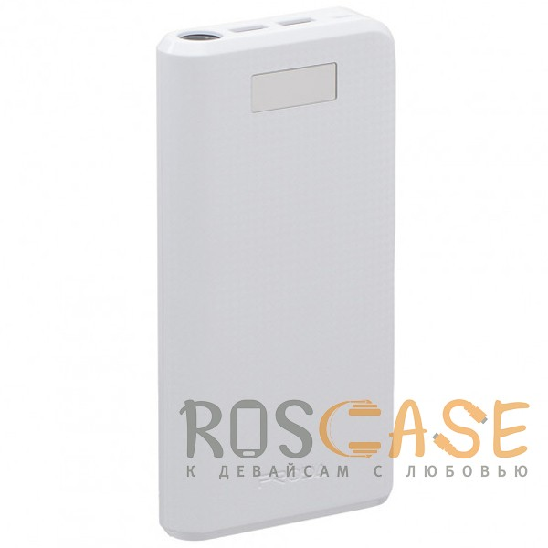 Фото Белый Remax PPL-14 | Портативное зарядное устройство Power Bank с фонариком на 2 USB (30000 mAh)