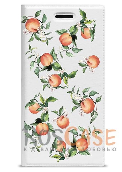 """Фото Универсальный яркий чехол-книжка с рисунком персиков Gresso """"Лимонад-персики"""" для смартфона 5.1-5.3 дюйма"""
