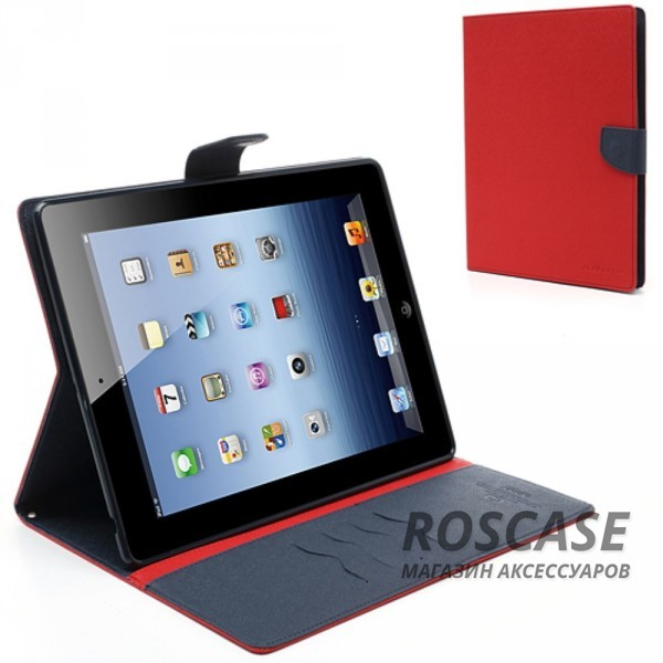 Чехол (книжка) Mercury Fancy Diary series для Apple iPad 2/3/4 (Красный / Синий)Описание:производитель  -  бренд&amp;nbsp;Mercury;совместим с Apple iPad 2/3/4;материалы  -  искусственная кожа, термополиуретан;форма  -  чехол-книжка.&amp;nbsp;Особенности:рельефная поверхность;все функциональные вырезы в наличии;внутренние кармашки;магнитная застежка;защита от механических повреждений;трансформируется в подставку.<br><br>Тип: Чехол<br>Бренд: Mercury<br>Материал: Искусственная кожа
