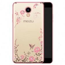 Прозрачный чехол со стразами для Meizu M5 с глянцевым бампером