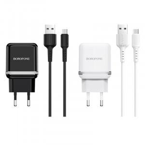 Borofone BA25A | Зарядное устройство для телефона 2USB / 2.4A + кабель MicroUSB 1м