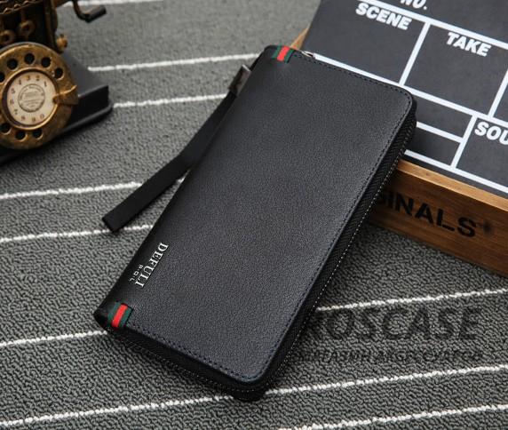 Фото Мужской кожаный чехол-кошелек Defuly на молнии с отделением для телефона + ремешок на руку