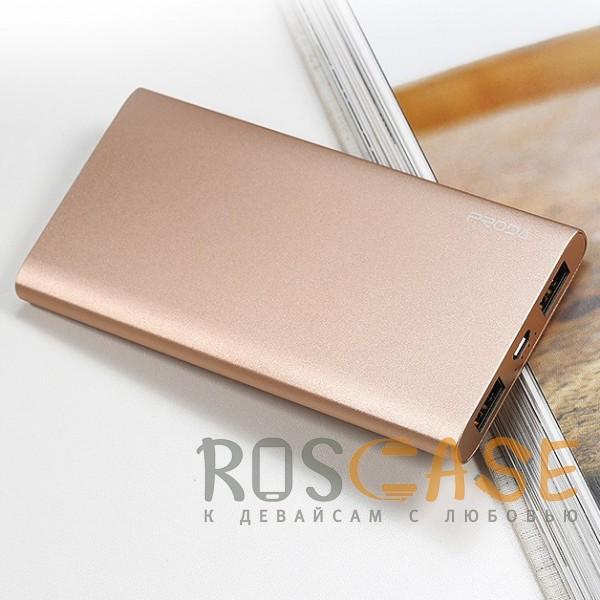 Изображение Золотой Remax Proda Kinzy PPP-13 | Портативное зарядное устройство Power Bank в металлическом корпусе на 2 USB (10000 mAh)