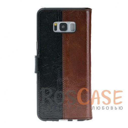 Изображение Двухцветный чехол-книжка из натуральной кожи с функцией подставки и отделением под карты и денежные купюры для Samsung Galaxy S8 (G950)