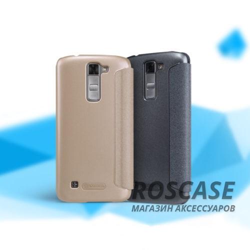 Кожаный чехол (книжка) Nillkin Sparkle Series для LG K7 X210Описание:бренд&amp;nbsp;Nillkin;изготовлен для LG K7 X210;материал: искусственная кожа, поликарбонат;тип: чехол-книжка.Особенности:не скользит в руках;защита от механических повреждений;не выгорает;блестящая поверхность;надежная фиксация.<br><br>Тип: Чехол<br>Бренд: Nillkin<br>Материал: Искусственная кожа