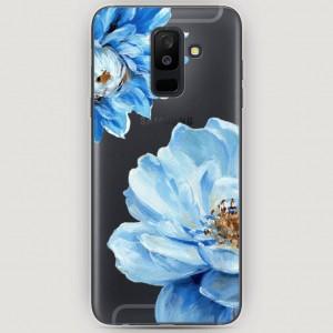 RosCase | Силиконовый чехол Голубые клематисы на Samsung Galaxy A6 Plus (2018)