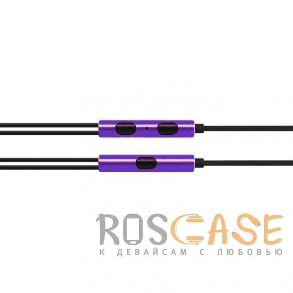 Изображение Фиолетовый JX | Металлические наушники с плетеным проводом и пультом