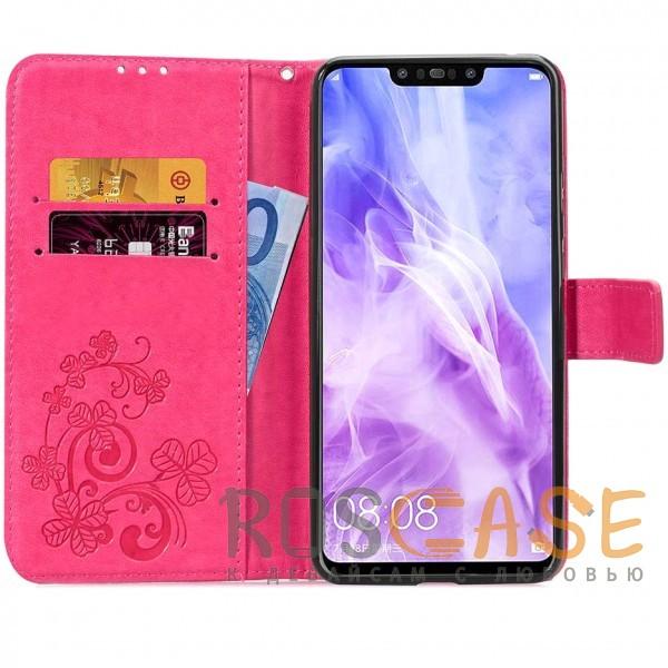 Фото Розовый Чехол-книжка с узорами на магнитной застёжке для Huawei P Smart+ (nova 3i)