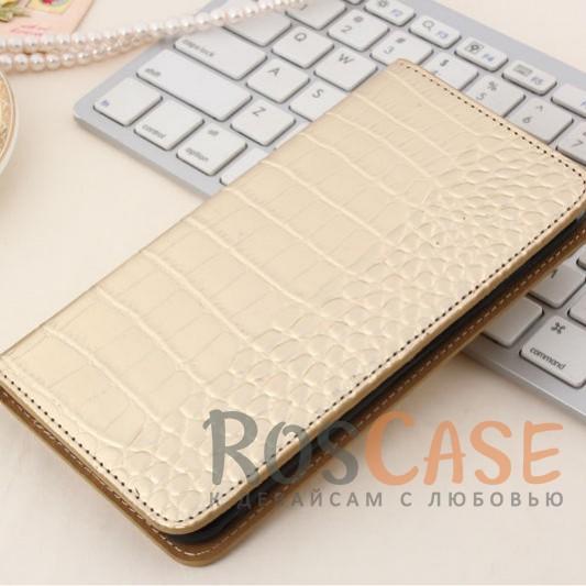 Кожаный чехол-книжка с имитацией кожи крокодила для Meizu M3 Note (Золотой)<br><br>Тип: Чехол<br>Бренд: Epik<br>Материал: Искусственная кожа