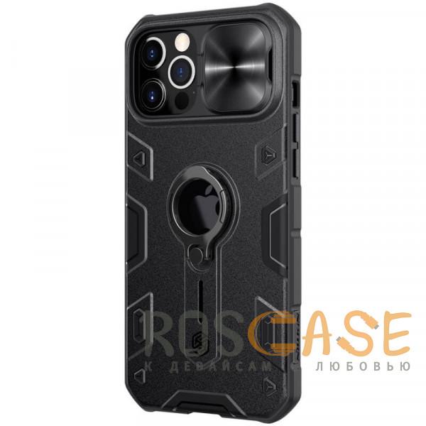 Фотография Черный Nillkin CamShield Armor | Противоударный чехол с защитой камеры и кольцом для iPhone 12 Pro Max с отверстием под лого