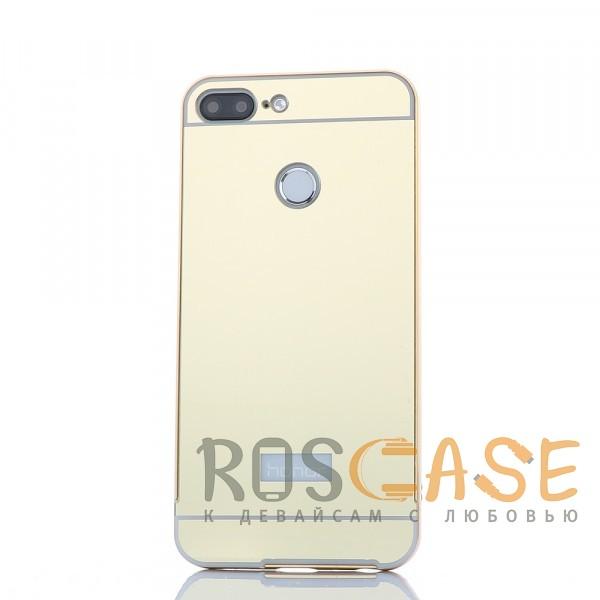 Металлический бампер с пластиковой вставкой для Huawei Honor 9 Lite (Золотой)Описание:разработан для Huawei Honor 9 Lite;материалы - металл, акрил;тип - бампер с задней панелью;зеркальная поверхность;защита от механических повреждений.<br><br>Тип: Чехол<br>Бренд: Epik<br>Материал: Металл