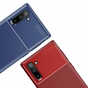 Силиконовый матовый чехол с текстурой Карбон для Samsung Galaxy Note 10