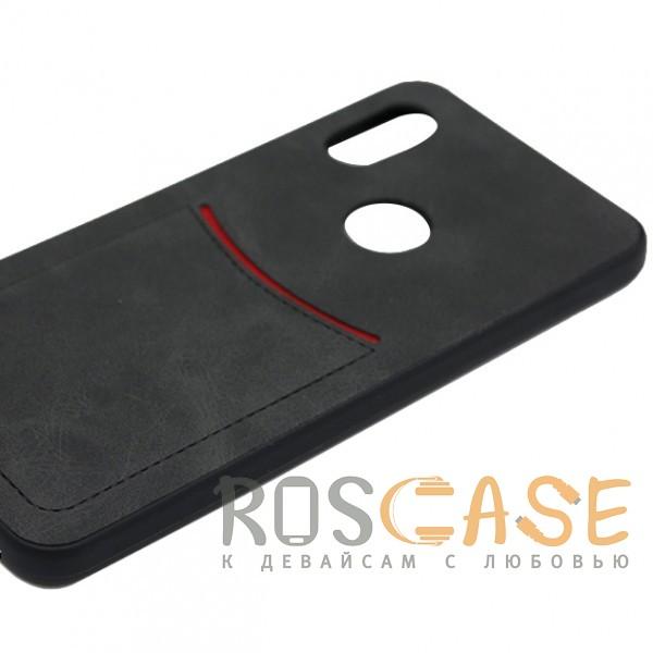 Фото Черный ILEVEL | Чехол с кожаным покрытием и с карманом-визитницей для Huawei P Smart+ (nova 3i)