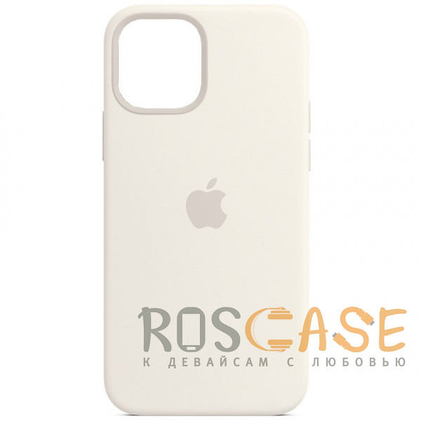 Фото Белый Силиконовый чехол Silicone Case с микрофиброй для iPhone 12 Pro Max