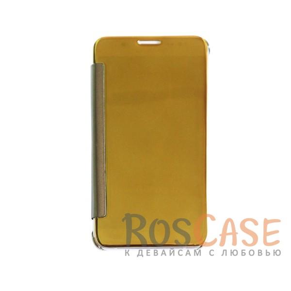Чехол-книжка с полупрозрачной акриловой крышкой с зеркальным покрытием для Samsung J710F Galaxy J7 (Золотой)<br><br>Тип: Чехол<br>Бренд: Epik<br>Материал: Пластик