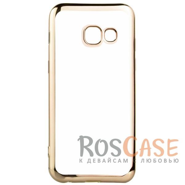 Прозрачный силиконовый чехол для Samsung A520 Galaxy A5 (2017) с глянцевой окантовкой (Золотой)Описание:совместим с Samsung A520 Galaxy A5 (2017);глянцевая окантовка;материал - TPU;тип - накладка.<br><br>Тип: Чехол<br>Бренд: Epik<br>Материал: TPU