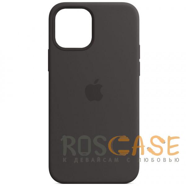 Фото Черный Силиконовый чехол Silicone Case с микрофиброй для iPhone 12 Pro Max