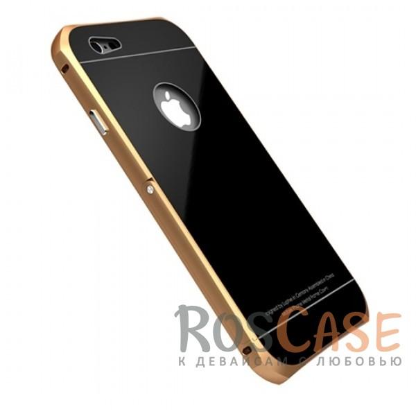 Металлический бампер с подставкой Luphie с акриловой вставкой для Apple iPhone 6/6s 4.7 (Золотой / Черный)Описание:бренд -&amp;nbsp;Luphie;материал - алюминий, акрил;совместим с Apple iPhone 6/6s 4.7;тип - бампер со вставкой.Особенности:акриловая вставка;прочный алюминиевый бампер;в наличии все вырезы;ультратонкий дизайн;функция подставки;ударопрочный и огнеупорный.<br><br>Тип: Чехол<br>Бренд: Luphie<br>Материал: Металл