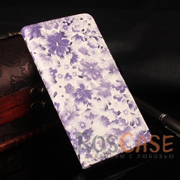 Чехол-кошелёк с цветочным рисунком и функцией подставки для Xiaomi Redmi Note 4 (MTK) (Фиолетовый)<br><br>Тип: Чехол<br>Бренд: Epik<br>Материал: Искусственная кожа
