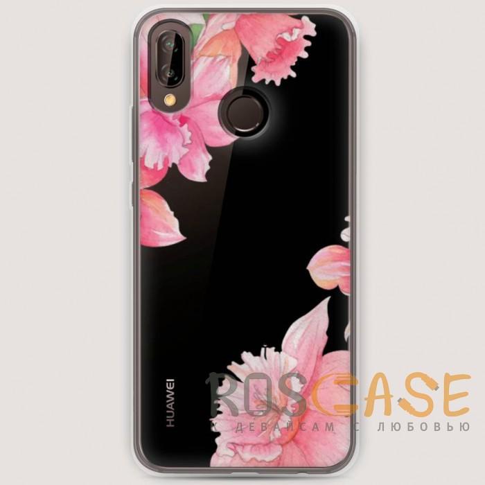 Фото RosCase | Силиконовый чехол Розовые цветочные уголки на Huawei Nova 3