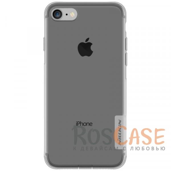 Nillkin Nature | Силиконовый чехол для Apple iPhone 7 / 8 (4.7) (Серый (прозрачный))Описание:производитель  -  бренд&amp;nbsp;Nillkin;совместим с Apple iPhone 7 / 8 (4.7);материал  -  термополиуретан;тип  -  накладка.&amp;nbsp;Особенности:в наличии все вырезы;не скользит в руках;тонкий дизайн;заглушка на отверстие для зарядки.защита от ударов и царапин;прозрачный.<br><br>Тип: Чехол<br>Бренд: Nillkin<br>Материал: TPU