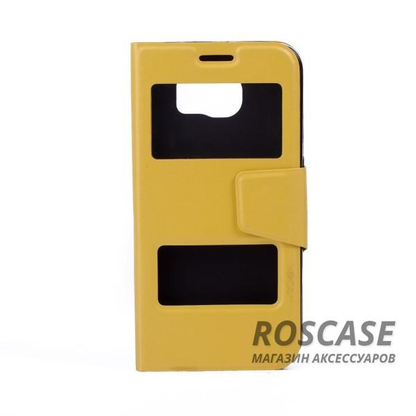 Чехол-обложка с окном для экрана и функцией трансформации в подставку для Samsung Galaxy S6 G920F/G920D Duos (Желтый)Описание:компания разработчик: Epik;совместимость с устройством модели: Samsung Galaxy S6 G920F/G920D Duos;материал изделия: термополиуретан и синтетическая кожа;конфигурация: обложка в виде книжки.Особенности:двусторонняя защита устройства;высокий класс износоустойчивости;выполняет функцию подставки;смотровое окошко.<br><br>Тип: Чехол<br>Бренд: Epik<br>Материал: Искусственная кожа